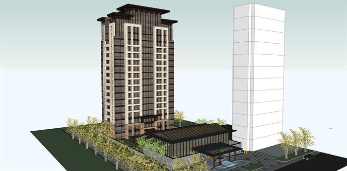 北京某现代所、方案效果建筑设计高层SU模公寓折纸绘制ps图片