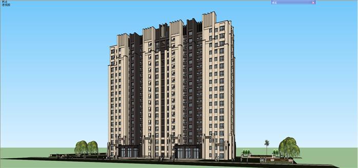 某新古典高层公寓建筑设计方案su模型2,该模型设计精美细