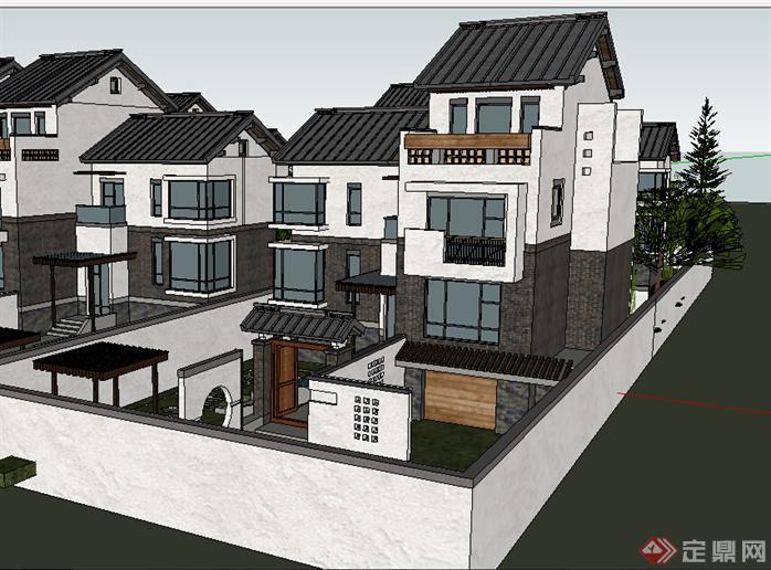 某现代中式独栋别墅建筑设计方案su模型(1)图片