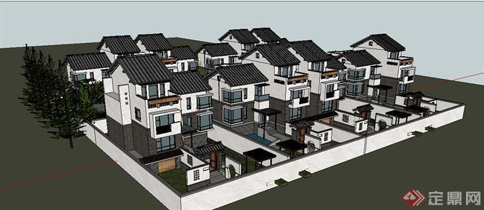 某现代中式独栋别墅建筑设计方案su模型