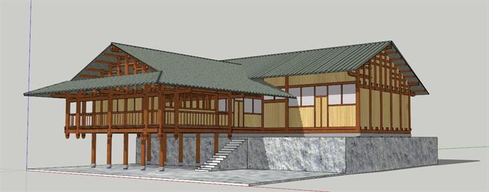 某吊脚楼建筑设计su模型