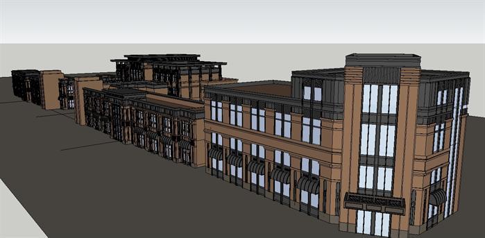 某新古典会所+沿街商业建筑设计su模型[原创]