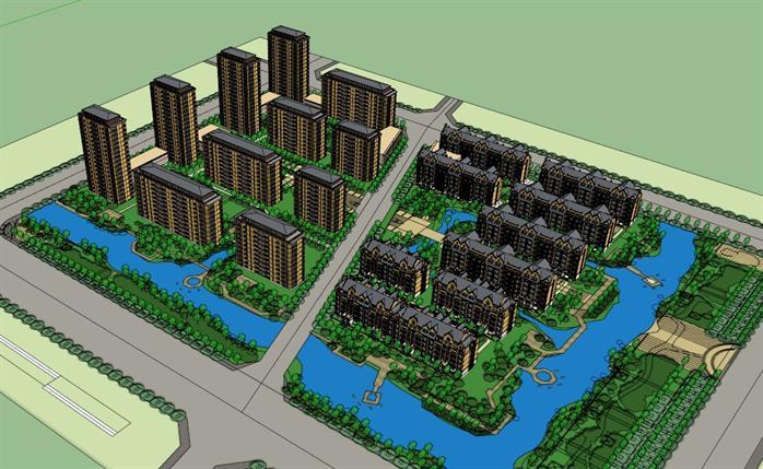 某住宅小区整体规划设计su模型[原创]