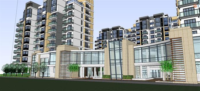 某现代中式高层住宅建筑设计方案su模型[原创]