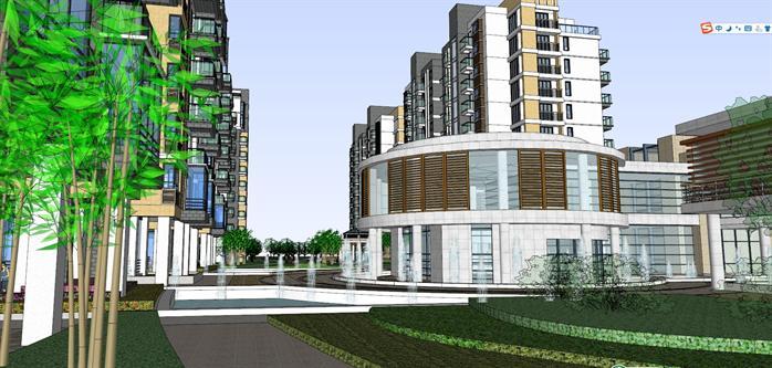 某现代中式高层住宅建筑设计方案su模型(4)