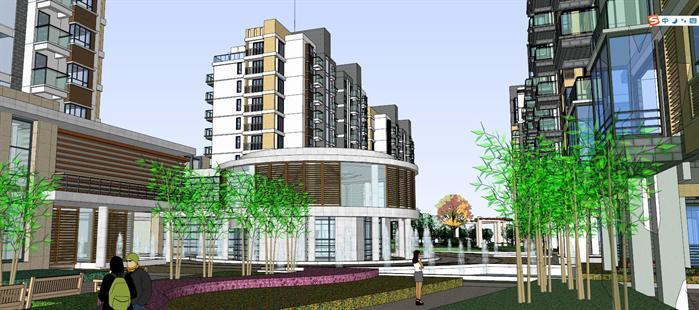 某现代中式高层住宅建筑设计方案su模型(5)