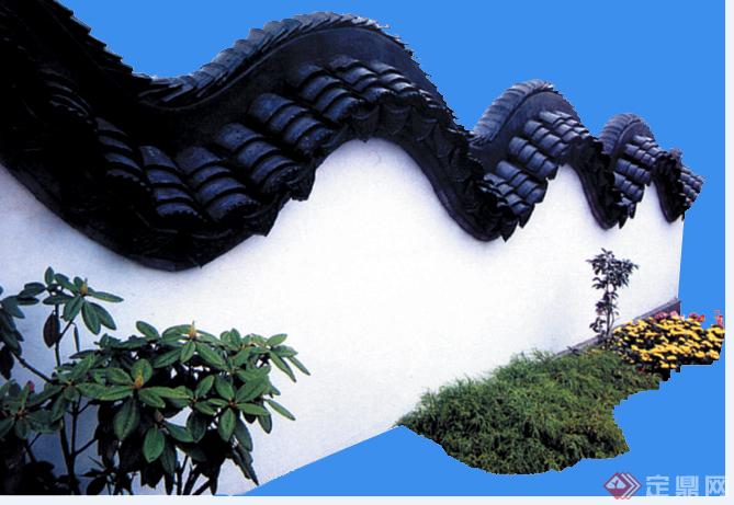 某现代风格园林围墙设计效果图,供广大景观设计,建筑方案设