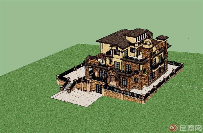 某欧式风格独栋别墅建筑方案设计su模型素材