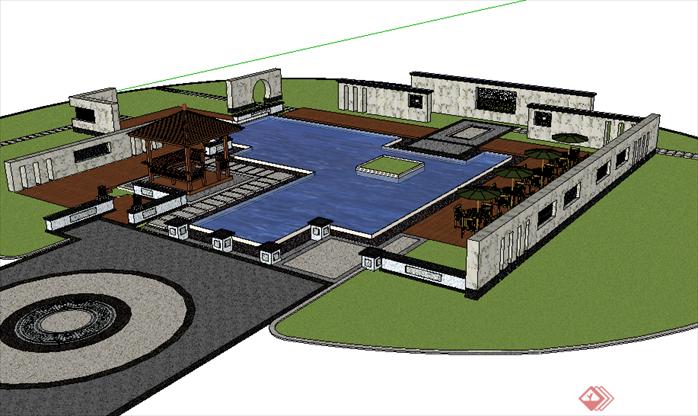 某现代风格广场景观绿地规划设计su模型(2)