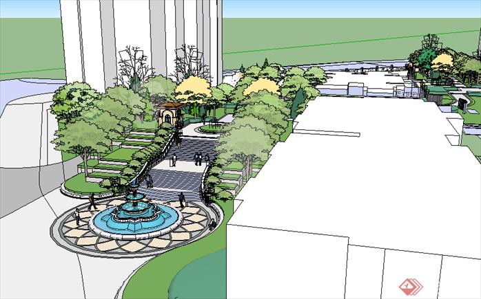 某现代风格居住小区入口景观设计喷泉水景su模型素材