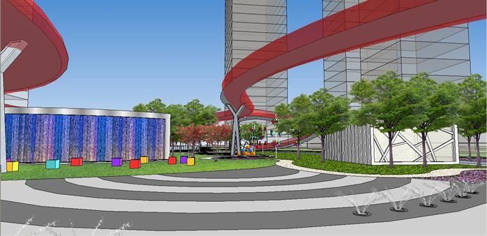 某城市市民休閑廣場景觀設計su模型(飛龍觀光走道)