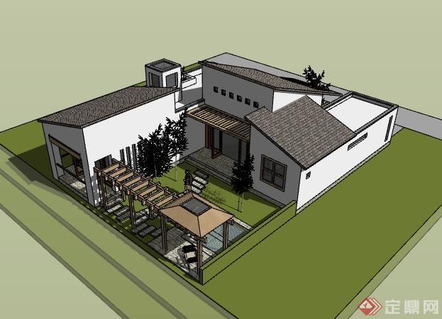 某新中式单栋别墅建筑设计su模型