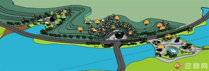 某滨水小广场景观设计su模型