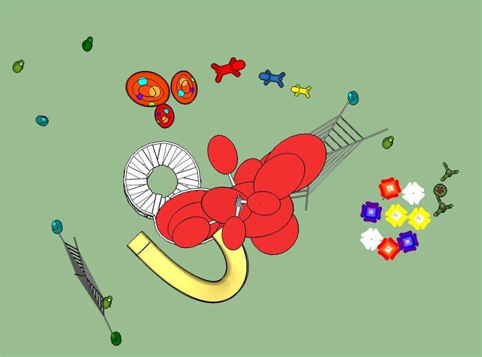 某现代风格儿童游乐设施方案设计su模型素材[原创]