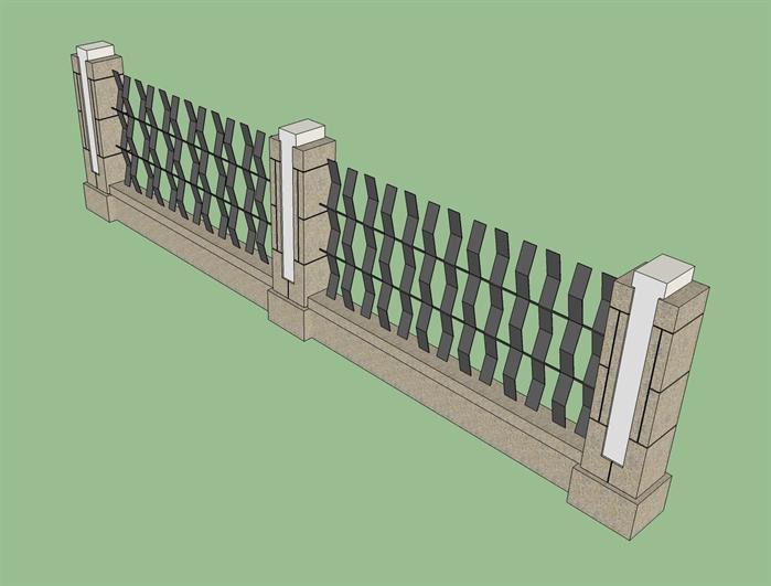 某现代风格园林围墙设计su模型素材[原创]