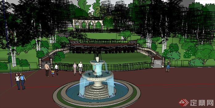 某现代风格居住区喷泉水景景观设计SU模型素材,该模型设计的还是比较细致的,模型场景还是比较大的,方案设计的还是比较细致的,风格简约,设计内容也比较丰富,供广大景观设计,建筑方案设计人员。园林设计人员参考用途.也可以用于同类设计规划项目参考用途。