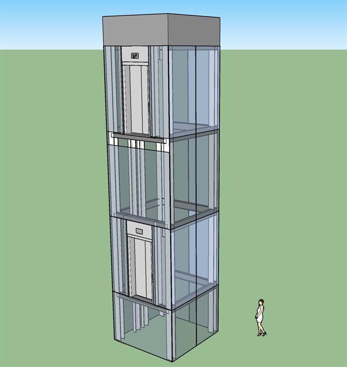 某现代风格电梯设计SU模型素材