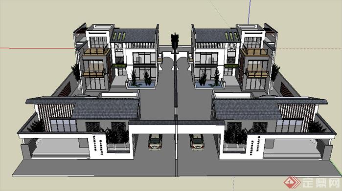某现代中式风格别墅四合院建筑设计su模型素材