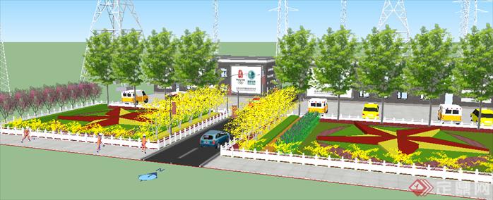 某现代风格道路街景绿化景观设计su模型素材
