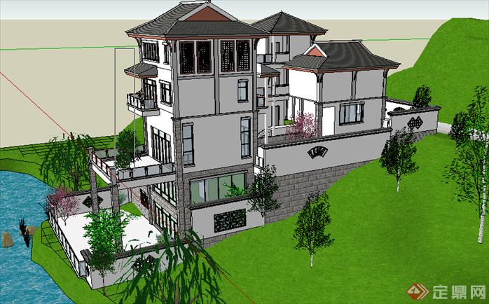 某现代中式风格山地别墅建筑设计su模型素材(2)