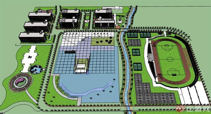 某学校校园景观设计su模型