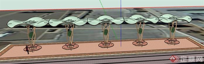 某个性雨棚廊架景观设计su模型