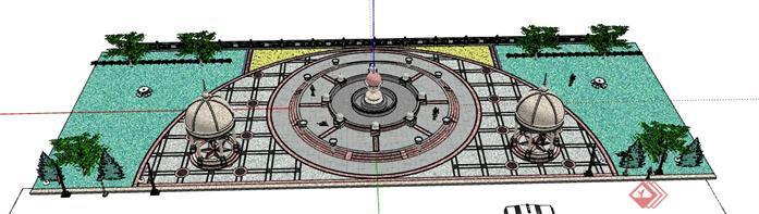 某欧式广场景观设计su模型