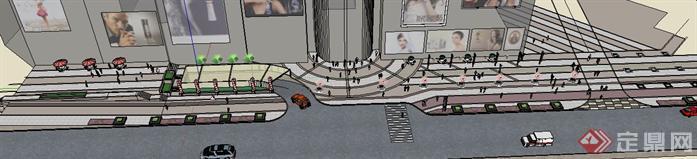 某商业街道路景观设计su模型,初步的一个植配,花池,树池分布设计