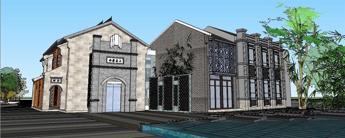 某新中式古镇旅游商业街建筑设计su模型图片