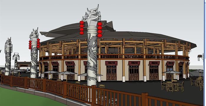 某土家族吊脚楼民居 旅游特色美食广场建筑设计SU模型