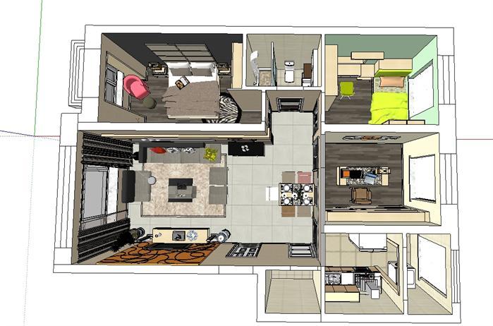 某两房一厅住宅装饰设计su模型[原创]