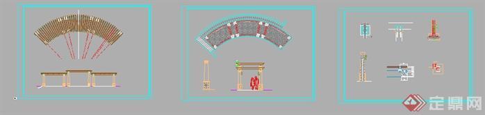 某欧式弧形花架景观设计方案图