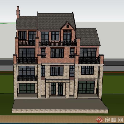 某欧式山地别墅建筑设计SU模型,模型制作精细,细节处理到位,设计风格为欧陆风格,具有一定的参考价值,有需要的朋友可以下载使用。