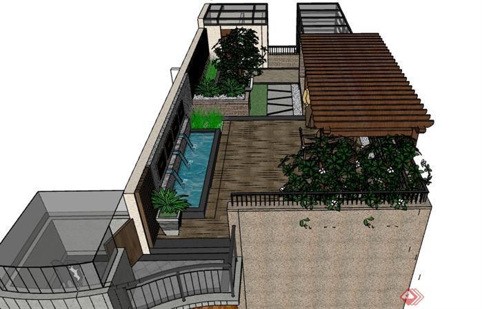 某新中式屋顶花园景观设计su模型(1)