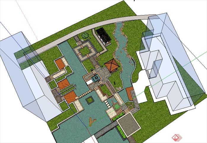 某现代风格居住区景观设计su模型素材(2)