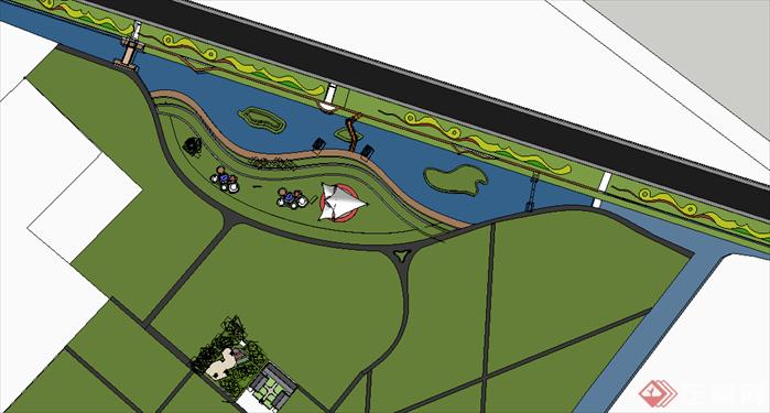 某现代风格滨水公园景观规划设计SU模型素材,该模型设计的还是比较细致的,模型场景还是比较大的,方案设计的还是比较细致的,风格简约,设计内容也比较丰富,供广大景观设计,建筑方案设计人员。园林设计人员参考用途.也可以用于同类设计规划项目参考用途。