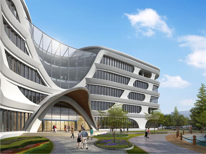 某超现代办公大楼建筑设计su模型素材(含效果图)[原创]图片