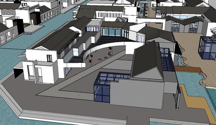 某新中式风格商业建筑群规划设计su模型素材