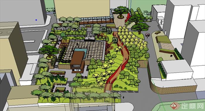 某现代风格居住区绿地景观规划设计SU模型素材,该模型设计的还是比较细致的,模型场景还是比较大的,方案设计的还是比较细致的,风格简约,设计内容也比较丰富,供广大景观设计,建筑方案设计人员。园林设计人员参考用途.也可以用于同类设计规划项目参考用途。