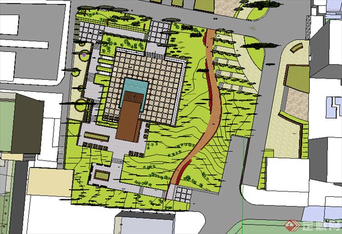 某现代风格居住区绿地景观规划设计su模型素材