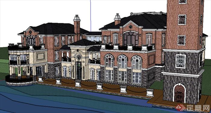 某现代欧式风格别墅设计su模型素材