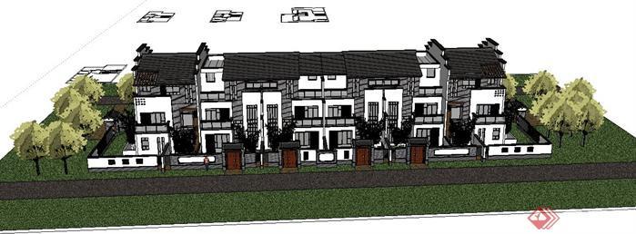 某新中式四拼别墅建筑设计su模型