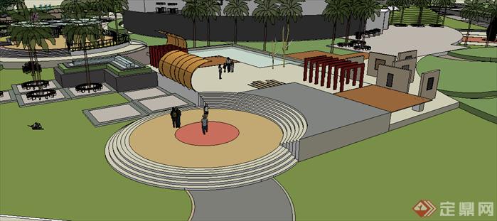 某现代风格商业外环境景观规划设计su模型素材