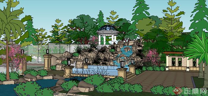 某现代风格跌水溪流居住区景观设计SU模型素材,该模型设计的还是比较细致的,模型场景还是比较大的,方案设计的还是比较细致的,风格简约,设计内容也比较丰富,供广大景观设计,建筑方案设计人员。园林设计人员参考用途.也可以用于同类设计规划项目参考用途。