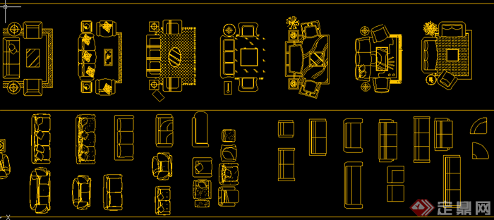 某现代风格室内家具陈列cad平面图素材 1