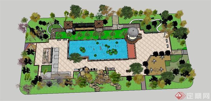 某小型公园景观设计su模型