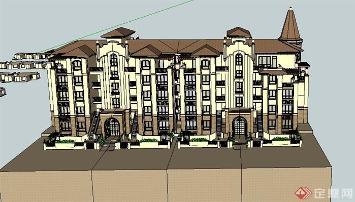 某欧式五层别墅建筑设计su模型