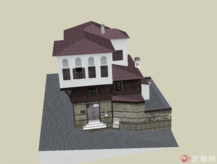 某欧式乡村别墅建筑设计su模型