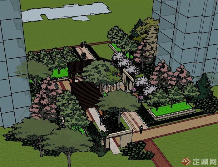 > 某居住区景观设计su模型,注重于植物配置和廊架的设计,较为小规模