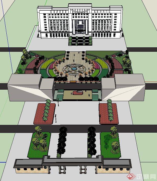 一个现代风格校园门口广场景观设计su模型素材.该广场整